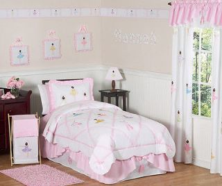 PINK WHITE BALLERINA BALLET GIRLS KIDS FULL QUEEN SIZED BEDDING SET