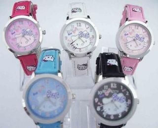 Child Hello Kitty Wrist Watch 5 Color Lot of Mix Wholesale Clock B2