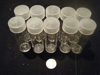 10 Clear Plastic Round Coin Tubes for American Silver Eagle with Screw