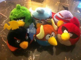 NEW SET OF 6 SPACE ANGRY BIRDS 5 INCH PLUSH CHARACTERS, NEW WITH TAGS