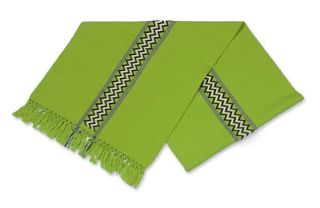 Handwoven Lime Green Guatemala Cotton Table Runner