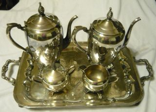 ROGERS Silver Coffee Tea 6pc Set creamer sugar lid tray pots #1883