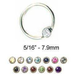 Captive Bead Ring Nose Ring Septum Hoop 5/16 CZ 2mm 18G