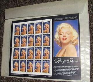 1995 Legends of Hollywood Marilyn Monroe stamp sheet*