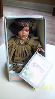 Cathay Collection Porcelain Native American Little Girl Doll NEW
