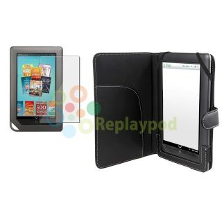 For Nook Color Black Leather Case Cover +Clear Screen Protector LCD