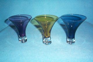 Vintage Deco Colored Martini Cocktail Glasses (3)