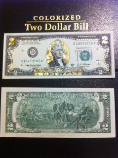 22 K GOLD 2 DOLLAR BILL HOLOGRAM COLORIZED USA NOTE LEGAL CURRENCY