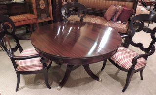 Round Regency Style Dining Table (53 with 12 extensions leaves