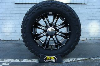 Alloy 016 Black Wheels 20x10 35x12.50 20 Federal MT Mud Tires 35 Tire