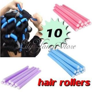 10x Hairstyle Foam Curler Stick Spiral Curls Tool DIY Bendy Hair