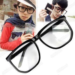 Unisex Tortoise Shell Nerd Geek Plain Black Clear Lens Glasses