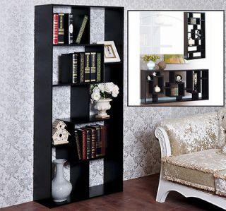 Frugah Black Wood Bookcase Display Stand Book Shelf Unique 70.9 High