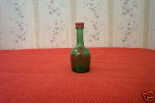 MINIATURE GREEN GLASS COGNAC SCREW TOP BOTTLE