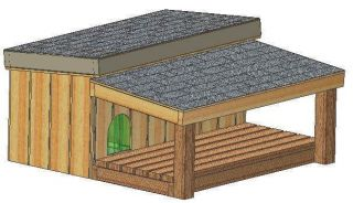 DOG HOUSE PLANS, 15 TOTAL, LARGE DOG, WITH PATIO, DETAILED PLANS