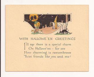 VINTAGE 1930s Rust Craft HALLOWEEN Witch/Black Cat/Jol/Owls Greeting