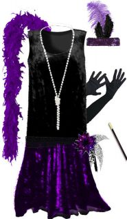 Black / Purple Roaring 20s PLUS SIZE Flapper Dress Halloween Costume