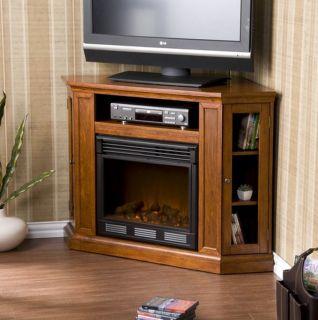 Infrared Quartz Fireplace Heater Media Entertainment Corner TV Stand