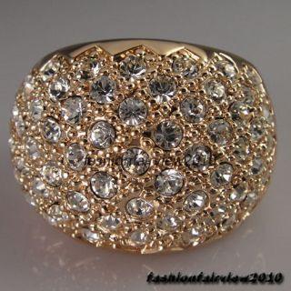 New 18K Rose Gold GP Full of Swarovski Crystal Cocktail Ring IR015B