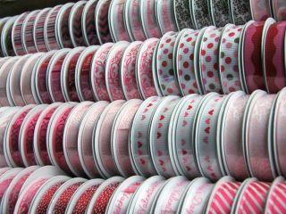American Crafts 10mm Printed satin & grosgrain Ribbon   Valentine 12