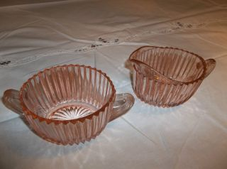 Hocking pink depression Queen Mary sugar bowl and creamer set