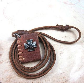 vp109 Genuine Brown Leather Pendant necklace with Cross on Brand new