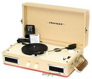 Crosley CR40 Tan/Red Mini Portable Record Player Turntable NEW