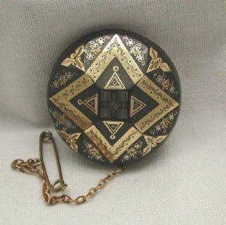 Antique Victorian Gold & Silver Pique Brooch