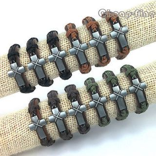Lots 12pcs Silver Tone Lovely Cross Genuine Leather Hemp Bracelets