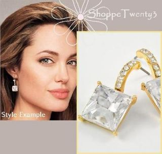 Square Crystal 1 Earrings Inspired by Angelina Jolie Designer Jewelry