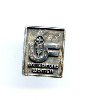 UF United Fund Women Red Cross Silver Plated Lapel Brooch Pin