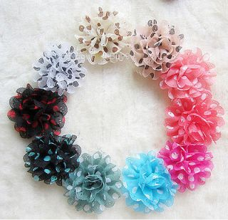 10 Pcs 4.7 Polka Dots Chiffon Flower Hat Hair Clip Brooch Pin S303