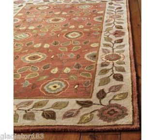 Pottery barn millie rug mocha rug 8x10 floral woolen area for Dining room rugs 9x12