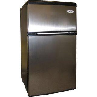 Stainless Mini Fridge & Freezer   Compact Food Beverage & Ice Dorm