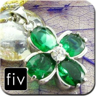 GREEN EMERALD TOPAZ 18K WHITE GOLD PLATED NECKLACE PENDANT CHAIN *OZ