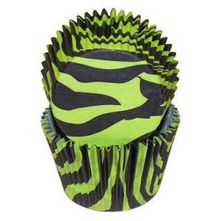 GREEN BLACK ZEBRA THICK STRONG CUPCAKE LINERS 36 CT STD