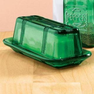 piece Vintage look antique style dark green depression glass butter