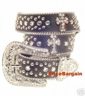 Western Rhinestone Bling Crystal Black Cross Concho Leather Belt ML
