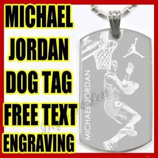 Michael Jordan Custom Design Dog Tag Silver Necklace