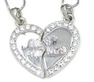 FRIEND Silver one Crysal 2 Pendans & 2 Necklaces BFF Friendship