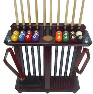 10 Pool Cue   Billiard Stick & Ball Set Floor Rack   Stand Mahogany