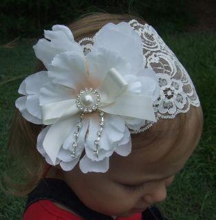Baby   Girls Lace Headband Peony Flower White Ivory Headwrap