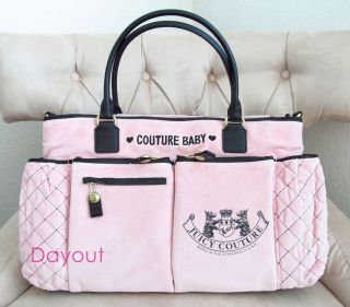 Juicy Couture Old School Scottie Crest Baby Diaper Bag Tote PINK