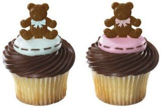 12 ~TEDDY BEAR CUPCAKE PICKS/CAKE TOPPERS Baby Shower