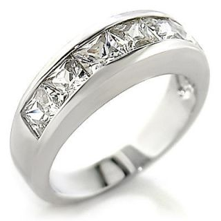 Princess Cut Channel Set CZ Eternity Band White Gold EP Ring Size 9
