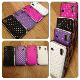 CHROME DIAMANTE BLING CASE FOR SAMSUNG GALAXY ACE S5830 FREE SCREEN