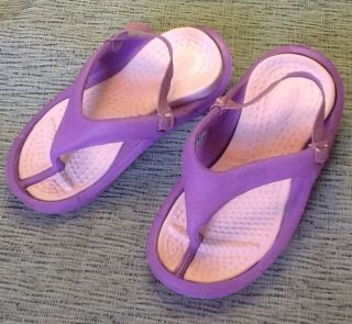 NWT Crocs Jibbitz Purple Pink Flip Flop Shoe Boy Girl Toddler Size XS