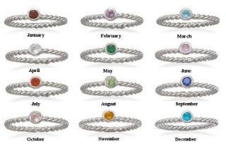 Sterling Silver Stackable Birthstone Ring   Mothers Day Gift   925