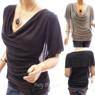 Sexy Gray Cowl Neck Ruffle Sleeve Casual Blouse Top, XL