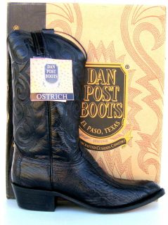 Dan Post Mens Black Ostrich Leg Cowboy Boots